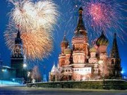 Fireworks over St. Basil Cathedral in Moscow