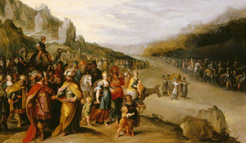 Joshua and the Israelites crossing the Red Sea