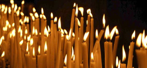 Candles lit before worship