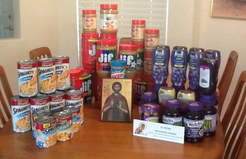 A portion of the food collected.