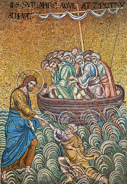 Christ walking on water. Mosaic from Monreale Cathedral, Sicily, 12th Century