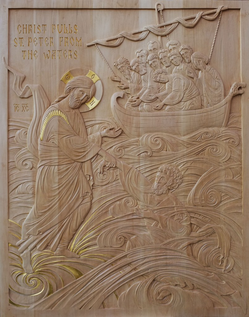 Christ Pulls St-Peter from the Waters. Linden and gilding. 4′ x 5′. Carved by Jonathan Pageau.