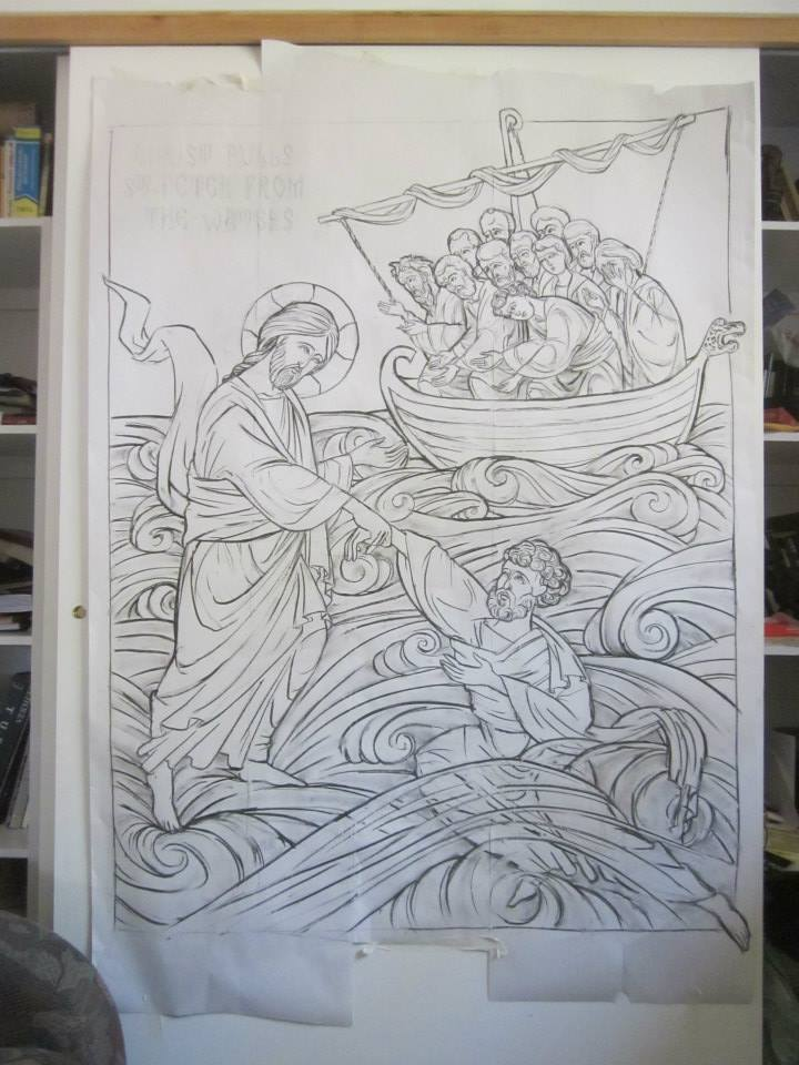 Final scaled drawing at 4′ x 5′. The level of water on St-Peter is higher than on the sketches and will still change in the final carving.